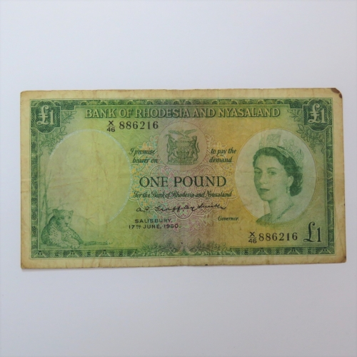 Rhodesia and Nyasaland one pound 17 June 1960 X46