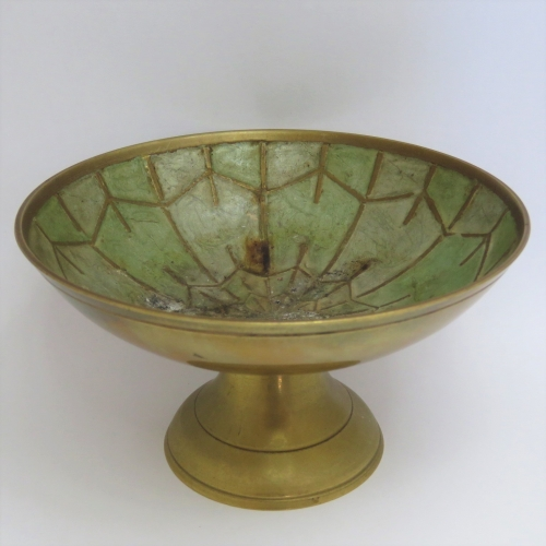 Vintage brass sweets dish with enamel inserts