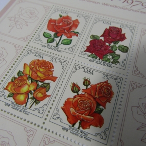South Africa miniature sheet of 1979 Rose stamps - Mint unhinged - Signed by the artist