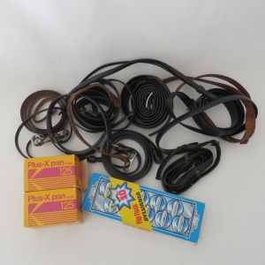 Lot of camera & lens box straps - 2 unused plus films and flash strip with 2 uses left