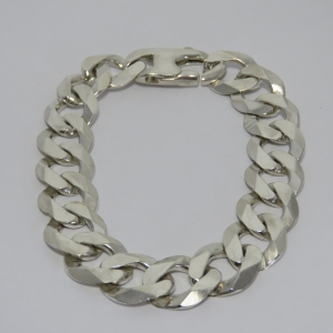Sterling silver Cuban curb bracelet - Weighs 54,6 g - Length 24 cm