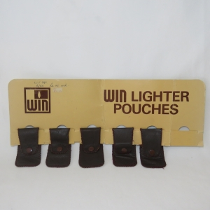 Lot of 5 vintage WIN leather lighter pouches on card