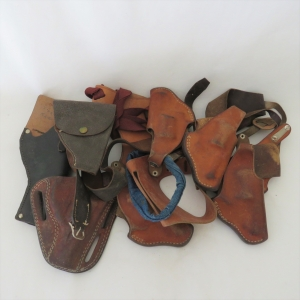 Lot of 10 leather holsters & straps for .32 & .38 revolvers