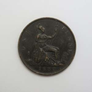 1880 Great Britain penny XF+
