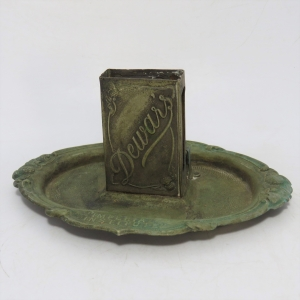 Vintage Dewar's International Institute ashtray with matchbox holder