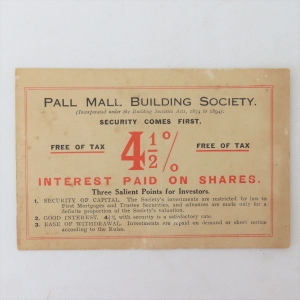 Early 1900's Pall Mall Building society response card