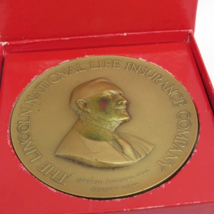The Lincoln National Life Insurance Company bronze medallion