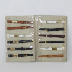 Lot of 12 vintage ladies leather watch straps in booklet - 8 mm / 10 mm
